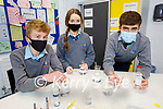 Tarbert Comprehensive School BT Young Scientist Exhibition TY students Paul Murphy, Isabelle Fitzsimmons and Darragh Heaphy, with their project studying the effects of chemicals in hand sanitisers on your skin.