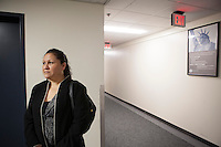 Esperanza Pacheco in the Federal Building in Cleveland, Ohio for a Reprot in Day with ICE, Immigration and Customs Enforcement. Her Husband Esubio Pacheco was seperated from his family for two years after a deportation. Esubio is back with his family after courts found his deportation was illegal. Pacheco holds a green card and their children are American Citizens.