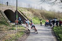 Fumy Beppu (JAP/Trek-Segafredo) & Marco Coledan (ITA/Trek-Segafredo) close to catching a proceeding group<br /> <br /> 60th E3 Harelbeke (1.UWT)<br /> 1day race: Harelbeke › Harelbeke - BEL (206km)