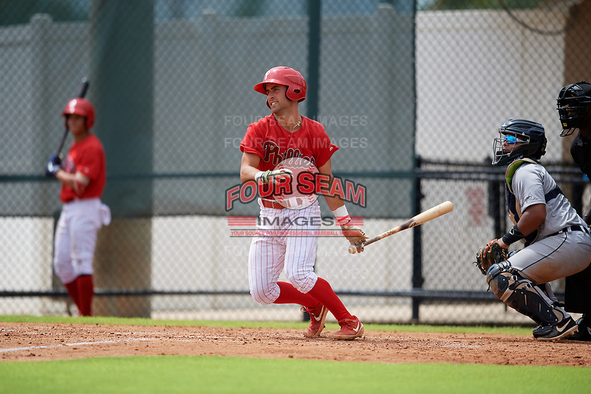 GCL Phillies West Sal Gozzo (4) bats during a Gulf Coast League game against the GCL Tigers West on July 27, 2019 at the Carpenter Complex in Clearwater, Florida.  (Mike Janes/Four Seam Images)