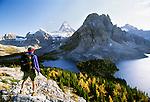 Hiker and Mount Assiniboine, Mount Assiniboine Provincial Park, British Columbia, Canada