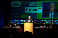 Montreal, March 28 2001<br /> Canada Environment Minister, the Honorable David Anderson adress the audience on the opening plenary session of Americana 2001, March 28th 2001 in Montreal, CANADA.<br /> Americana is one of the biggest trade show and convention on environment and waste management<br /> Photo by Pierre Roussel / <br /> <br /> NOTE :  Uncorrected D-1 jpeg opened as NTSC saved as Adobe RGB