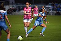 Kansas City, MO - Friday May 13, 2016: FC FC Kansas City defender Becky Sauerbrunn (4) and Chicago Red Stars forward Christen Press (23) during a regular season National Women's Soccer League (NWSL) match at Swope Soccer Village.