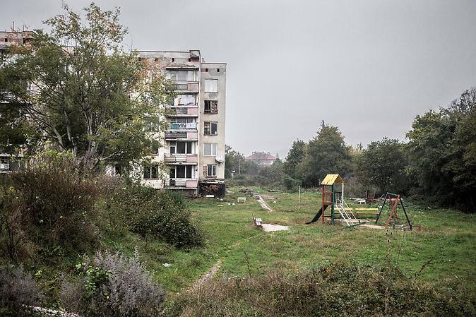"""Wohnungen für Grenzbeamte in der bulgarischen Kleinstadt Malko Tarnowo (""""Klein-Tarnowo"""") in der Nähe der bulgarisch-türkischen Grenze."""