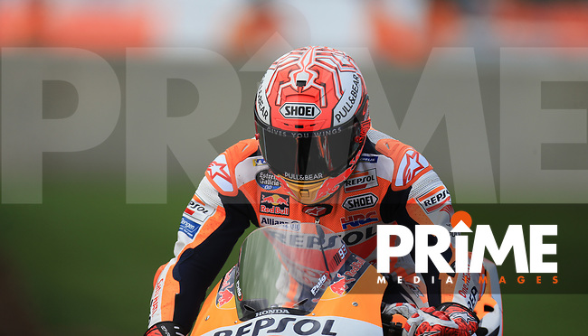 Marc Marquez (93) of the Repsol Honda Team race team during the GoPro British MotoGP at Silverstone Circuit, Towcester, England on 26 August 2018. Photo by Chris Brown / PRiME Media Images