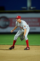 Vancouver Canadians second baseman Tanner Morris (26) during a Northwest League game against the Tri-City Dust Devils at Gesa Stadium on August 21, 2019 in Pasco, Washington. Vancouver defeated Tri-City 1-0. (Zachary Lucy/Four Seam Images)