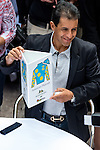 JUNE 3, 2015: American Pharoah jockey Victor Espinoza during the Belmont Stakes Post Position Draw at Rockefeller Center in New York, NY. Scott Serio/ESW/CSM