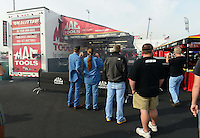 Sept. 30, 2012; Madison, IL, USA: NHRA fans in the pit area of top fuel dragster driver Doug Kalitta during the Midwest Nationals at Gateway Motorsports Park. Mandatory Credit: Mark J. Rebilas-