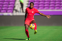 ORLANDO, FL - FEBRUARY 24: CANWNT player kicks the ball before a game between Brazil and Canada at Exploria Stadium on February 24, 2021 in Orlando, Florida.