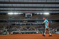 11th October 2020, Roland Garros, Paris, France; French Open tennis, mens singles final 2020; Rafael NADAL of Spain shows strength against Novak DJOKOVIC of Serbia in the mens final match during the French Open tennis tournament