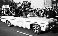 Terry Evanshen Calgary Stampeders during the Grey Cup Parade in Ottawa 1967. Photo Ted Grant
