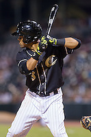 Micah Johnson (3) of the Charlotte Knights at bat against the Scranton/Wilkes-Barre RailRiders at BB&T Ballpark on July 17, 2014 in Charlotte, North Carolina.  The Knights defeated the RailRiders 9-5.  (Brian Westerholt/Four Seam Images)
