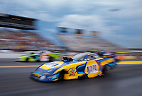 Sep 27, 2020; Gainesville, Florida, USA; NHRA funny car driver Ron Capps (near) defeats Tim Wilkerson in the final round of the Gatornationals at Gainesville Raceway. Mandatory Credit: Mark J. Rebilas-USA TODAY Sports
