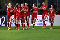 Nicoline Sorensen (2L) of Denmark celebrates with team mates after scoring the goal of 0-1 during the Women s EURO 2022 qualifying football match between Italy and Denmark at stadio Carlo Castellani in Empoli (Italy), October, 27th, 2020. Photo Andrea Staccioli / Insidefoto