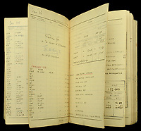 BNPS.co.uk (01202 558833)<br /> Pic: DixNoonanWebb/BNPS<br /> <br /> Pictured: The pilot's log book.<br /> <br /> The wartime gallantry medals awarded Princess Margaret's lover, Group Captain Peter Townsend, today sold for £260,000.<br /> <br /> The RAF 'ace' shot down at least 11 enemy aircraft in over 300 operational sorties during the Battle of Britain and beyond.<br /> <br /> He became the first RAF pilot to bring down an enemy aircraft on English soil in February 1940.