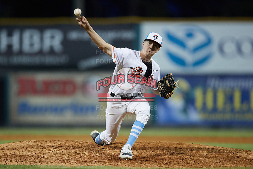 Burlington Sock Puppets relief pitcher Chase Johnson (28) (Catawba) in action against the Bluefield Ridge Runners at Burlington Athletic Park on June 8, 2021 in Burlington, North Carolina. (Brian Westerholt/Four Seam Images)