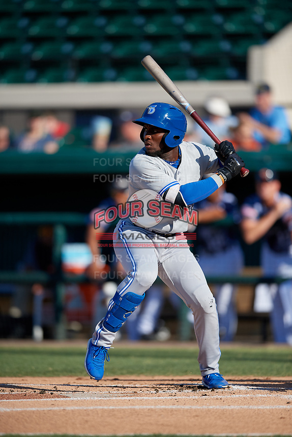 Dunedin Blue Jays Chavez Young (2) at bat during a Florida State League game against the Lakeland Flying Tigers on May 18, 2019 at Publix Field at Joker Marchant Stadium in Lakeland, Florida.  Dunedin defeated Lakeland 3-2 in eleven innings.  (Mike Janes/Four Seam Images)