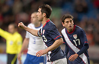 Carlos Bocanegra celebrates after scoring on a head ball. The USA men fell to the Netherlands 2-1 at Amsterdam ArenA, Wednesday, March 3, 2010.