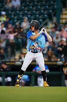 Bradenton Marauders Travis Swaggerty (12) during a Florida State League game against the Jupiter Hammerheads on April 20, 2019 at LECOM Park in Bradenton, Florida.  Bradenton defeated Jupiter 3-2.  (Mike Janes/Four Seam Images)