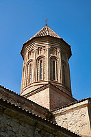 close up ictures & image of the Church of the Transfiguration of Ikalto monastery was founded by Saint Zenon, one of the 13 Syrian Fathers, in the late 6th century. Near Telavi, Kakheti, Eastern Georgia (Country).<br /> <br /> The Ikalto Monastery is famous for the Academy of Ikalto founded in the reign of King David the Builder by Arsen Ikaltoeli. The Academy of Ikalto trained its students in classical diciplins of rhetoric, astronomy, philosophy, geography, geometry as well as learning the skills of chantings, pottery and poetry. In the 12th century the Georgian poet Shota Rustaveli studied here.