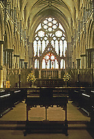 Lincoln: Lincoln Cathedral--Angel Choir, 125601280. Note: no apse or ambulatory--simply a flat eastern wall, typical of English Gothic cathedrals. Photo '90.