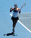Januaary 27, 2010.Na Li of China, jumps for joy after defeating the USA's Venus Williams, 2-6, 7-6, 7-5 in the quarter final of the Australian Open, Melbourne Park, Melbourne, Australia..