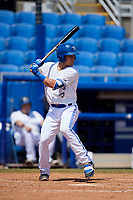 Dunedin Blue Jays shortstop Logan Warmoth (2) at bat during a game against the Daytona Tortugas on April 22, 2018 at Dunedin Stadium in Dunedin, Florida.  Daytona defeated Dunedin 5-1.  (Mike Janes/Four Seam Images)