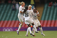 Stephanie HOUGHTON of Great Britain celebrates the winning goal with her team mates - Great Britain Women vs New Zealand Women - Womens Olympic Football Tournament London 2012 Group E at the Millenium Stadium, Cardiff, Wales - 25/07/12 - MANDATORY CREDIT: Gavin Ellis/SHEKICKS/TGSPHOTO - Self billing applies where appropriate - 0845 094 6026 - contact@tgsphoto.co.uk - NO UNPAID USE.