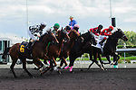 The field leaves the starting gate at Woodbine Race Course in Ontario, Canada on September 15, 2012.
