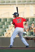 Micker Aldofo (37) of the Kannapolis Intimidators at bat against the Lakewood BlueClaws at Kannapolis Intimidators Stadium on August 11, 2016 in Kannapolis, North Carolina.  The Intimidators defeated the BlueClaws 3-1.  (Brian Westerholt/Four Seam Images)