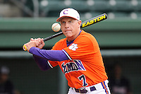 Head coach Jack Leggett (7) of the Clemson Tigers prior to a fall scrimmage against College Lafleche from Canada on October 17, 2013, at Fluor Field at the West End in Greenville, South Carolina. (Tom Priddy/Four Seam Images)