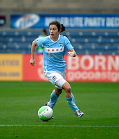 Chicago forward Karen Carney (14) looks for an open player.  Sky Blue FC defeated the Chicago Red Stars 1-0 at Toyota Park in Bridgeview, IL on April 25, 2010.