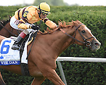 Wise Dan (no. 6), ridden by John Velazquez and trained by Charles LoPresti, wins the 29th running of the grade 1 Shadwell Turf Mile Stakes for three year olds and upward on October 04, 2014 at Keeneland in Lexington, Kentucky.  (Bob Mayberger/Eclipse Sportswire)