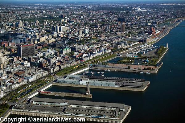 aerial photograph of the Port Montreal and the Saint Lawrence River, Montreal, Quebec, Canada | photographie aérienne du port de Montréal et du fleuve Saint-Laurent, Montréal, Québec, Canada