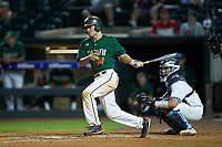 Michael Burns (44) of the Miami Hurricanes follows through on his swing against the North Carolina Tar Heels in the second semifinal of the 2017 ACC Baseball Championship at Louisville Slugger Field on May 27, 2017 in Louisville, Kentucky. The Tar Heels defeated the Hurricanes 12-4. (Brian Westerholt/Four Seam Images)