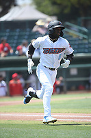 D'Shawn Knowles (8) of the Inland Empire 66ers runs to first base during a game against the Fresno Grizzlies at San Manuel Stadium on May 25, 2021 in San Bernardino, California. (Larry Goren/Four Seam Images)
