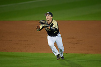UCF Knights third baseman Matt Archer (2) catches a popup during a game against the Siena Saints on February 14, 2020 at John Euliano Park in Orlando, Florida.  UCF defeated Siena 2-1.  (Mike Janes/Four Seam Images)