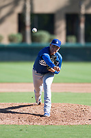 Los Angeles Dodgers relief pitcher Jose Rodulfo (56) delivers a pitch during an Instructional League game against the San Diego Padres at Camelback Ranch on September 25, 2018 in Glendale, Arizona. (Zachary Lucy/Four Seam Images)