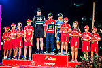 Kids of La Vuelta Junior with Christopher Froome (2nd position) Nairo Quintana, (1st position) and Esteban Sanchez (3th position) during La Vuelta a España 2016 in Madrid. September 11, Spain. 2016. (ALTERPHOTOS/BorjaB.Hojas)