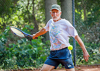 Hilversum, The Netherlands,  August 18, 2020,  Tulip Tennis Center, NKS, National Senior Championships, Men's single 80+ ,  Herman Brouwer (NED) <br /> Photo: www.tennisimages.com/Henk Koster