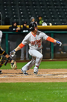 Jon Kemmer (25) of the Fresno Grizzlies at bat against the Salt Lake Bees in Pacific Coast League action at Smith's Ballpark on April 13, 2016 in Salt Lake City, Utah. The Grizzlies defeated the Bees 6-0. (Stephen Smith/Four Seam Images)