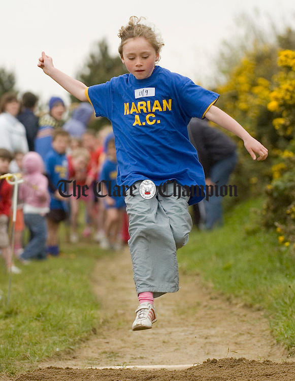 Clodagh Leonard in action at the Clare Track and Field championships at Mullagh. Photograph by John Kelly.