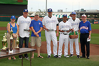 Buffalo Bisons awards ceremony with winners Chris Schwinden #38, Valentino Pascucci #17, Luis Figueroa #9, and Tim Teufel #11 during the awards ceremony before a game against the Syracuse Chiefs at Coca-Cola Field on September 1, 2011 in Buffalo, New York.  Syracuse defeated Buffalo 6-2.  (Mike Janes/Four Seam Images)