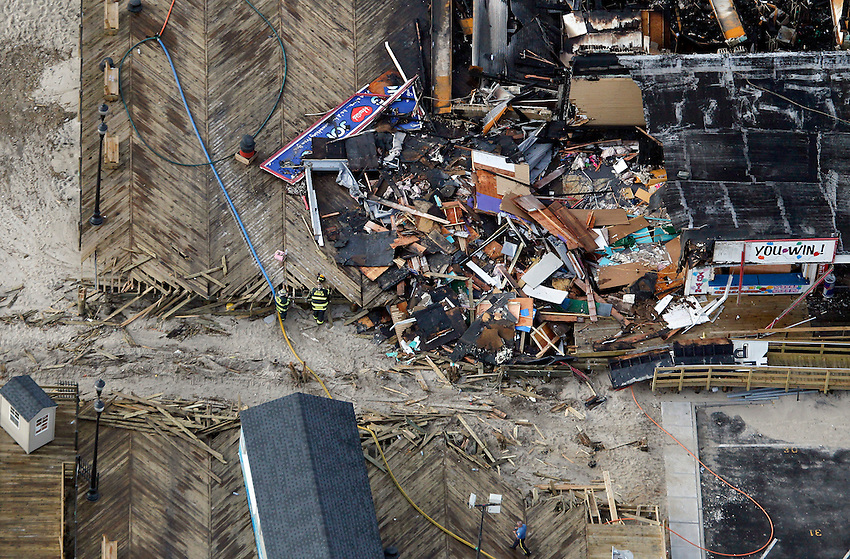 SEASIDE HEIGHTS, NJ (Sept. 13, 2013) —Aerial view of Sampson Avenue, where local firefighters made their stand — a last-ditched effort to stop the fire by cutting a trench through the boardwalk to stop the flames from advancing any further.