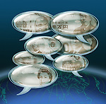 Illustrative image of various currencies in chat bubbles representing globalization
