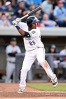 West Michigan Whitecaps third baseman Francisco Contreras (29) at bat during a game against the Great Lakes Loons on June 5, 2014 at Fifth Third Ballpark in Comstock Park, Michigan.  West Michigan defeated Great Lakes 6-2.  (Mike Janes/Four Seam Images)