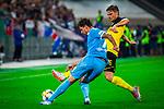 09.08.2019, Merkur Spiel-Arena, Düsseldorf, GER, DFB Pokal, 1. Hauptrunde, KFC Uerdingen vs Borussia Dortmund , DFB REGULATIONS PROHIBIT ANY USE OF PHOTOGRAPHS AS IMAGE SEQUENCES AND/OR QUASI-VIDEO<br /> <br /> im Bild | picture shows:<br /> Zweikampf zwischen Lukasz Piszczek (Borussia Dortmund #26) und Christian Dorda (KFC Uerdingen #7), <br /> <br /> Foto © nordphoto / Rauch