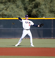 Drew Waters plays for the USA Baseball Premier 12 Team in a game against Central Arizona College at the Kansas City Royals complex on October 27, 2019 in Surprise, Arizona (Bill Mitchell)