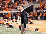 Oklahoma State Cowboys head coach, Mike Gundy, in action during the game between the Oklahoma Sooners and the Oklahoma State Cowboys at the Boone Pickens Stadium in Stillwater, OK. Oklahoma State defeats Oklahoma 44 to 10..