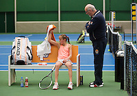 01-12-13,Netherlands, Almere,  National Tennis Center, Tennis, Winter Youth Circuit, Julie Belgraver  is angry, the umpire has to intervene<br /> Photo: Henk Koster